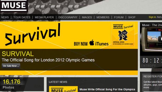 Muse annonce sur son site oque Survival sera la principale chanson officielle des JO 2012 de Londres