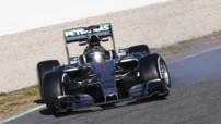 Nico Rosberg au volant de sa Mercedes lors des tests hivernaux de Barcelone précédant la saison 2015 de Formule 1.