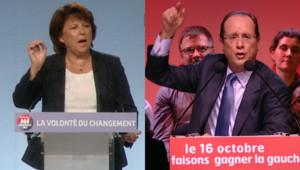 Martine Aubry et François Hollande lors de leur meeting respectif, le 13 octobre 2011.