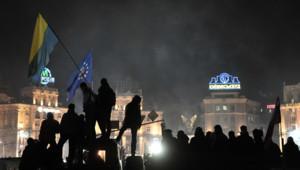 La place Maidan, noire de monde, le 26 février 2014