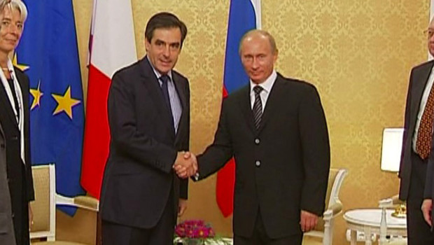Franois Fillon rencontrant Vladimir Poutine  Sotchi (20 septembre 2008)