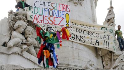 Manifestation pour la lutte contre le réchauffement climatique à Paris, le 21 septembre 2014.