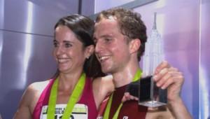 Suzy Walsham et Thorbjorn Ludvigsen, vainqueurs de la course Empire State Building Run-Up 2014.