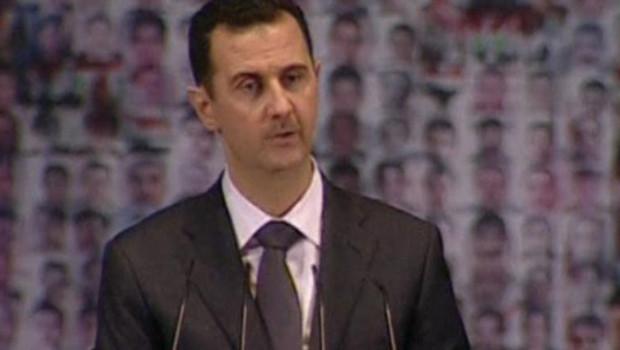 Bachar al-Assad lors d'un discours retransmis à la télévision syrienne (6 janvier 2013)