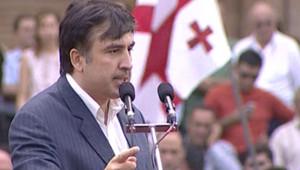 Mikhaïl Saakachvili, le président géorgien le 12 août 2008, à Tbilissi