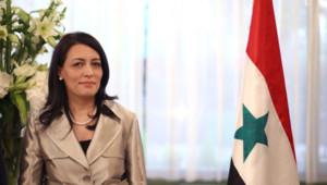 L'ambassadrice syrienne à Paris, Lamia Shakkour dans son bureau à Paris le 27 avril 2009.