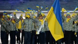 La délégation ukrainienne lors de la cérémonie d'ouverture des JO de Sotchi.