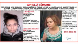"""L'appel à témoins pour retrouver """"deux mineures radicalisées"""" de Haute-Savoie."""