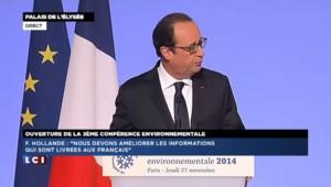 """Hollande veut """"une base de données publique, gratuite et ouverte"""" sur l'environnement"""