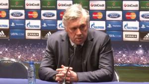L'entraîneur du PSG Carlo Ancelott en conférence de presse à l'issue du match nul PSG-Barça