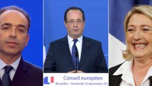 Jean-François Copé, François Hollande et Marine Le Pen - image d'illustration