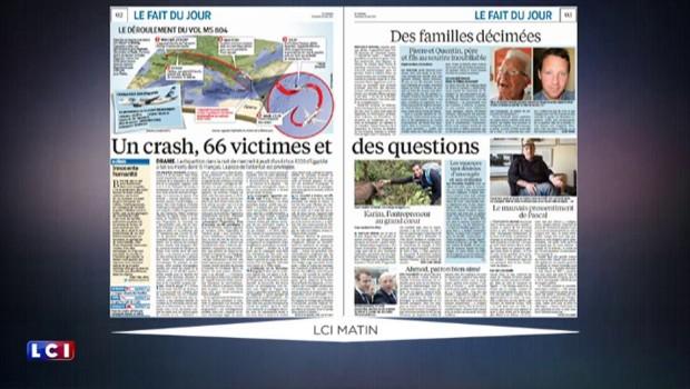 La presse du vendredi 20 mai largement consacrée au vol EgyptAir