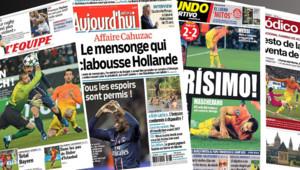 """Les """"Unes"""" des journaux français """"L'Equipe"""" et """"Le Parisien"""", et des espagnols """"El Mundo Deportivo"""" et """"El Periodico"""", au lendemain du match nul PSG-Barça au Parc des Princes (3 avril 2013)"""