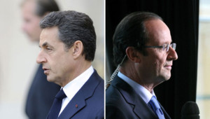 Images d'archives de Nicolas Sarkozy et François Hollande