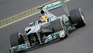 Lewis Hamilton et sa Mercedes lors de la séance de qualification du Grand Prix d'Allemagne, le 6 juillet 2013.