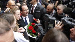 François Hollande, à son arrivée à la gare de St Pancras, à Londres, le 29 février 2012.