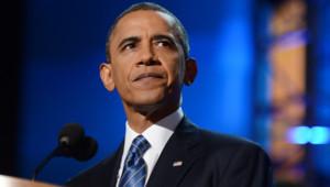 Barack Obama lors de son discours d'acceptation de l'investiture démocrate (6 septembre 2012)