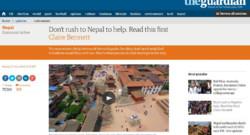 """Népal : tribune de Claire Bennett dans """"The Guardian"""", 28/4/15"""