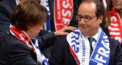 Martine Aubry et François Hollande lors de la finale de la Coupe Davis à Lille, le 22 novembre 2014.