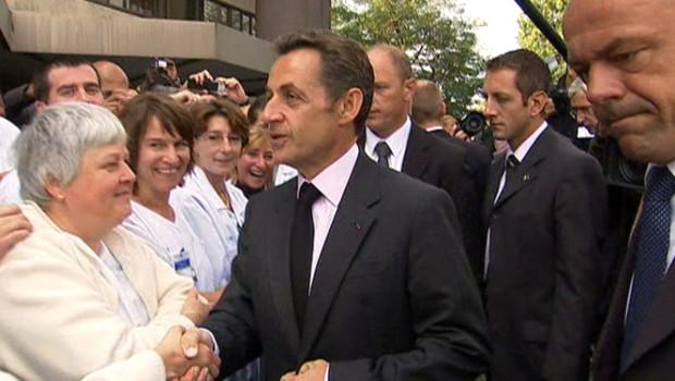 Nicolas Sarkozy à l'hôpital Paul-Brousse de Villejuif (18 septembre 2009)