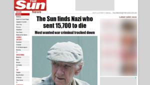 Capture écran du site du tabloïd anglais The Sun montrant une photo du criminel nazi Laszlo Csatary, identifié en Hongrie.