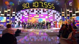 Le 23e Téléthon, avec le total des promesses de dons recueillies (6 décembre 2009)