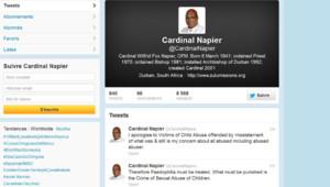 Capture d'écran du compte twitter du cardinal Napier, 18/3/13, vers 9h, heure française
