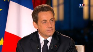 Nicolas Sarkozy lors de son intervention télévisée depuis l'Elysée le 29 janvier 2012
