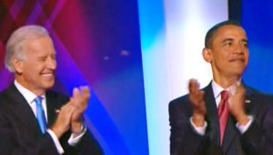 Barack Obama et Joe Biden à la convention démocrate de Denver (27 août 2008)
