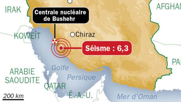 Séisme en Iran, près de la Centrale nucléaire de Bushehr, le 9 avril 2013.