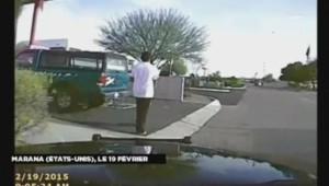 Un policier renverse un suspect en voiture.