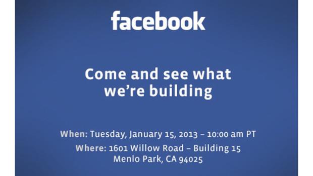 Facebook invite la presse le 14 janvier 2013