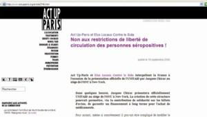 TF1/LCI : Communiqué sur le site d'Act Up Paris dénonçant les pays qui mettent des barrières à l'entrée des séropositifs