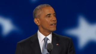 """Convention démocrate : Obama """"plus optimiste que jamais"""", passe le flambeau à Clinton"""