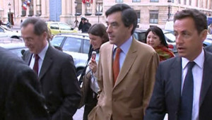 TF1-LCI : Nicolas Sarkozy, avec François Fillon, le 11 mai 2007