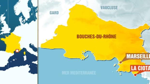 Carte de La Ciotat (Bouches-du-Rhône).