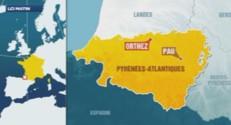 Carte de localisation d'Orthez, dans les Pyrénées-Atlantiques