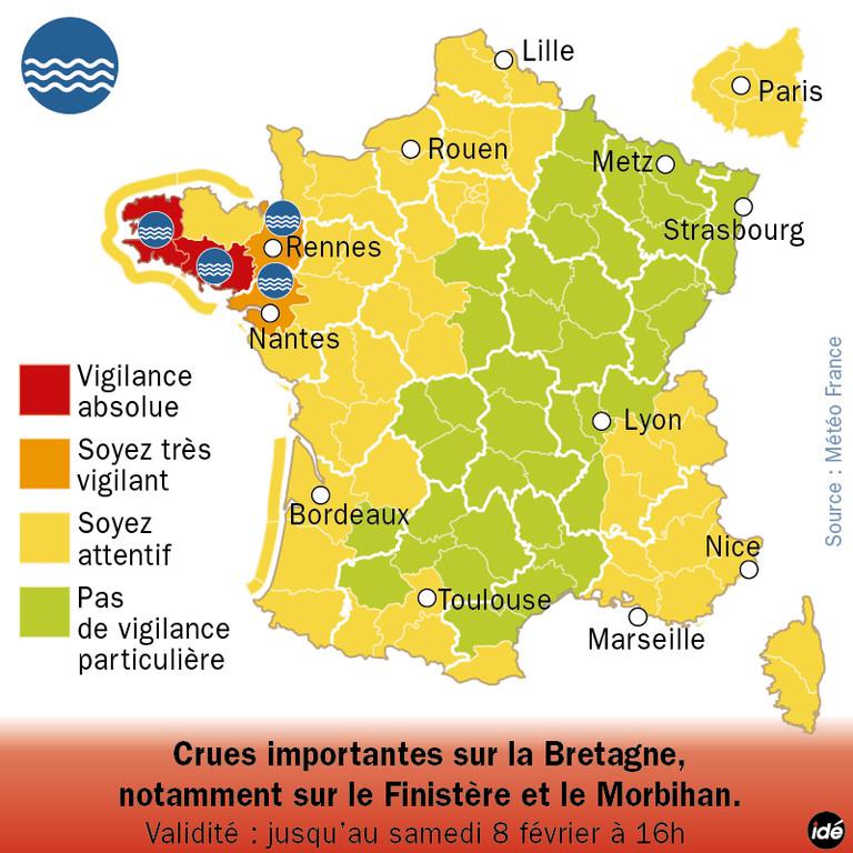 Crues : le Finistère et le Morbihan restent en vigilance rouge