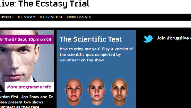"Capture d'écran du site de l'émission ""Drugs live : the ecstasy trial"" sur Channel 4, 27/9/12"