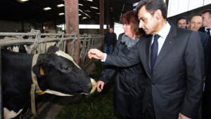 Nicolas Sarkozy visitant une exploitation agricole, le 15 mars 2011.