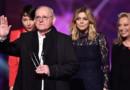 William Sheller, Jeanne Cherhal, Louane et Véronique Sanson lors des 31è Victoires de la Musique à Paris le 12 février 2016.