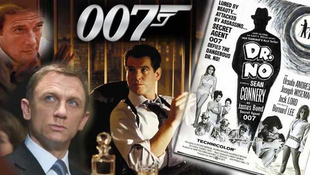 """Montage photo avec l'affiche de """"Docteur No"""" et quelques-uns des interprètes de James Bond"""
