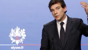 Arnaud Montebourg lors de la présentation du plan d'aide à la filière automobile, le 25 juillet.