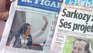 Le Parisien et Le Figaro évoquant la libération des otages des Farc (11 janvier 2008)