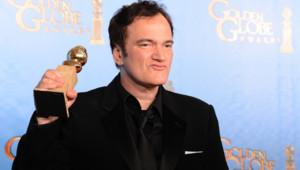 Quentin Tarantino et son Golden Globe du meilleur scénario pour Django Unchained aux Golden Globes 2013