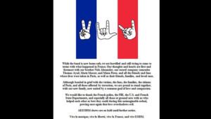 Le message publié le mercredi 18 novembre par le groupe Eagles of Death Metal après les attentats du vendredi 13 à Paris