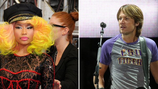La rappeuse Nicki Minaj (à gauche) et le chanteur de country Keith Urban (à droite) - montage photo