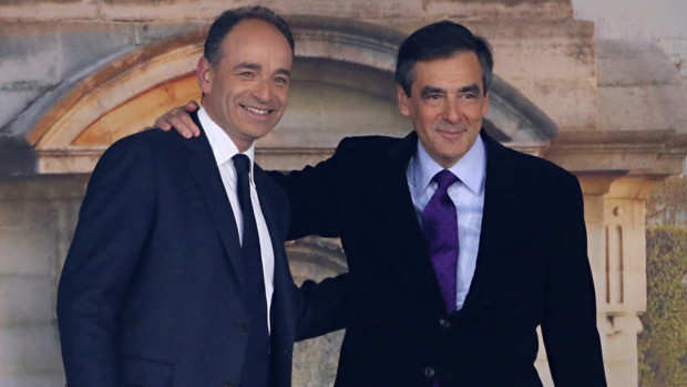 Jean-François Copé et François Fillon en meeting à Paris en avril 2012 UMP