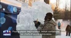 Des sculptures sur glace prennent vie dans un parc de Moscou