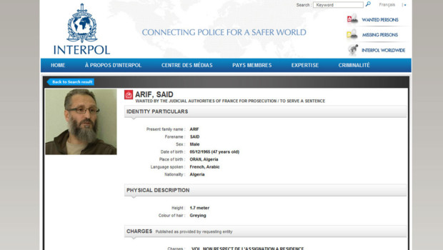Interpol a mis une demande d&amp;#039;arrestation contre Sad Arif, islamiste en fuite en France.